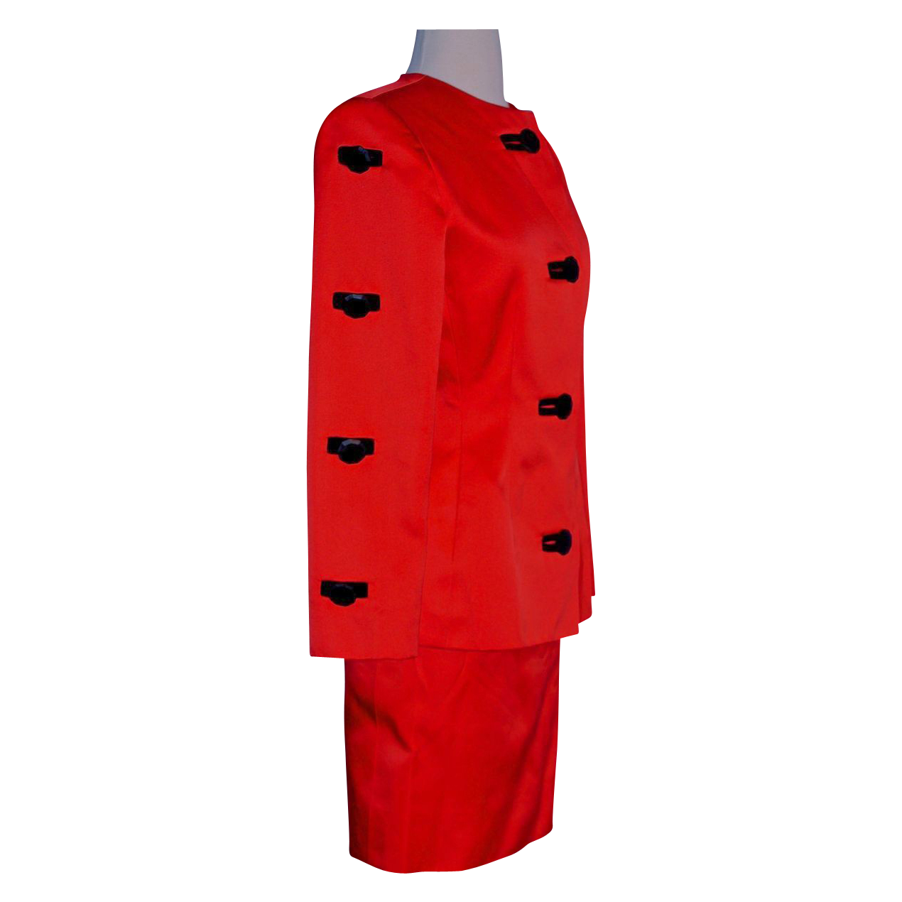 GIVENCHY  Nouvelle Boutique 2-Piece Tomato Red Silk-Satin Suit - Black Velvet Trim