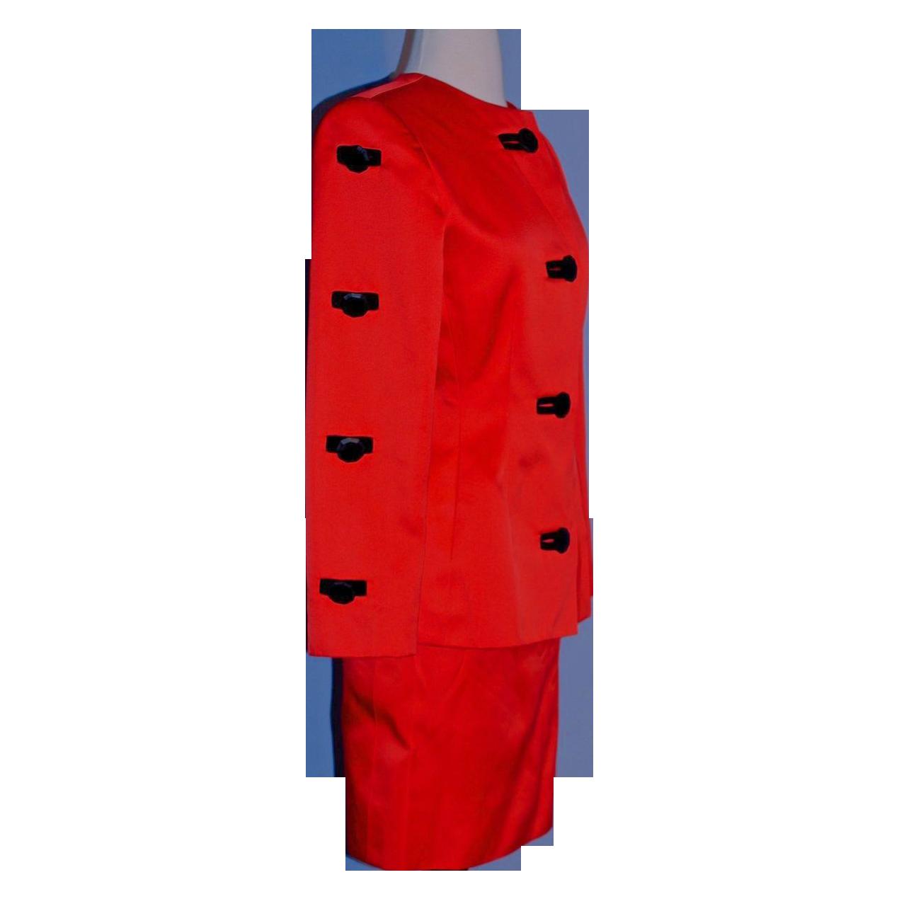 GIVENCHY  Nouvelle Boutique 2-Piece Tomato Red Silk-Satin Suit - Black Velvet Trim