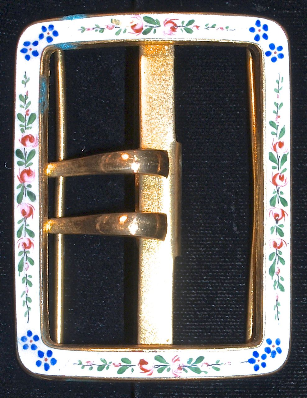 Enameled Flower Belt Buckle on Gold Plate