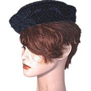 CORALIE - Iridescent Bead Vines on Navy Silk Velvet Pillbox Hat