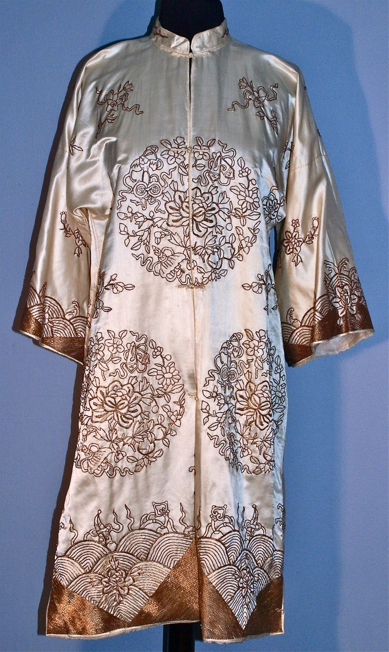 1920s Chinese Silk Kimono Coat - Gold-Metallic Thread - Couched Embroidery