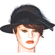 MISS SCHIAPARELLI  Paris - Picture Hat in Black Wool Felt