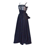 EISENBERG ORIGINAL 1930s Elegant Gown/Dress - Black Satin & Lace
