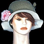 CORALIE  Cloche Green Straw Hat - Pink Silk Rose