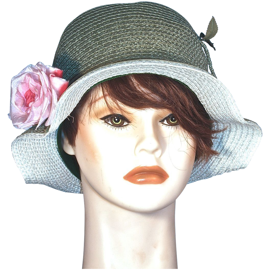 CORALIE  Cloche Green Straw Hat - Pink Silk Rose