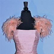 Powder Puff Pink Shibori Swag & Ostrich Cocktail Dress