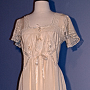 1910 SILK DAY DRESS/BRIDAL/NIGHTGOWN - Hand-Made Lace Inlay and Trim, Silk Ribbon on Creamy Antique White Silk