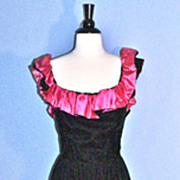 MARITA by Anthony Muto Black Velvet & Hot Pink Satin Cocktail Dress