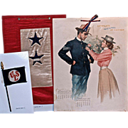 WWI MEMORABILIA: Service Flags & 1899 Armour's Army & Navy Art Calendar 'Sweet Moments'