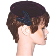 CORALIE  Beaded Burgundy Velvet Pill-Box Hat