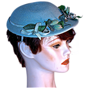 1930s BLUE DRESS HAT - Flower Branches & Ribbons on Blue Straw