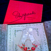 SCHIAPARELLI  Swiss Embroidered Handkerchiefs - Original Box of 3 - Unused