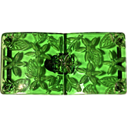 CZECH Green Etched/Carved Crystal Glass Belt Buckle, Signed
