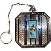 Dance Compact - Blue Guilloche Enamel Flower Basket Cartouche with Engine Turned Vertical Lines on Chrome Ground-Finger Ring