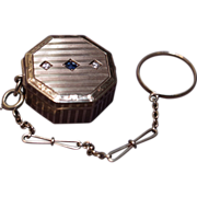 14 Karat Gold Edwardian Patch Box - Diamonds & Sapphire