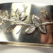 Antique Victorian Silver Cuff Bracelet Applied Rose Detail Hmk 1882