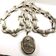 Victorian Sterling Silver Locket, Collar & Drop c1880