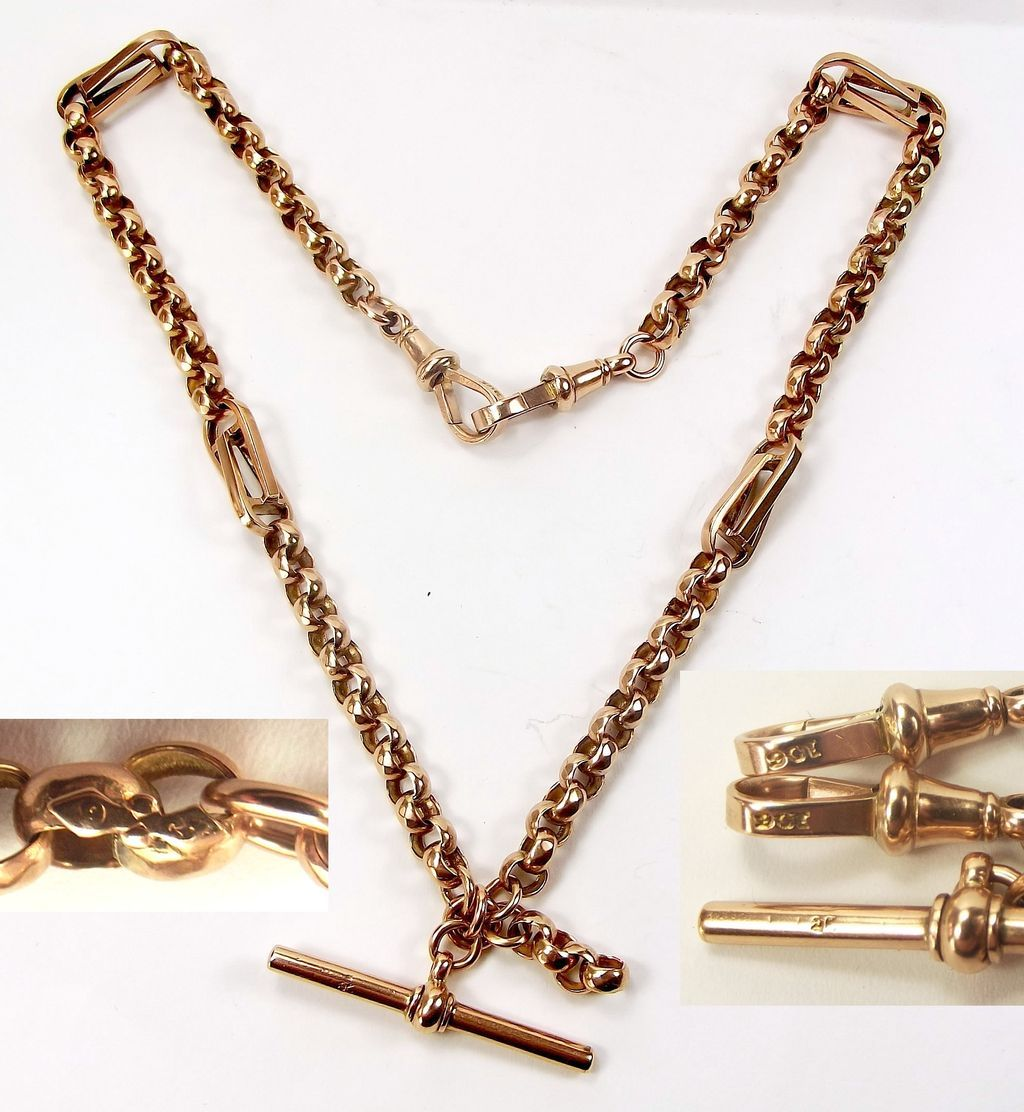 Antique: Victorian, Rose Gold, Ornate, Albert Watch Chain Necklace