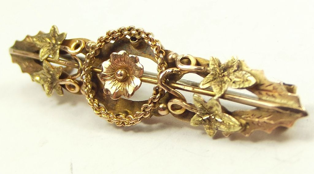 Victorian Rose & Yellow 9ct Gold Bar Brooch