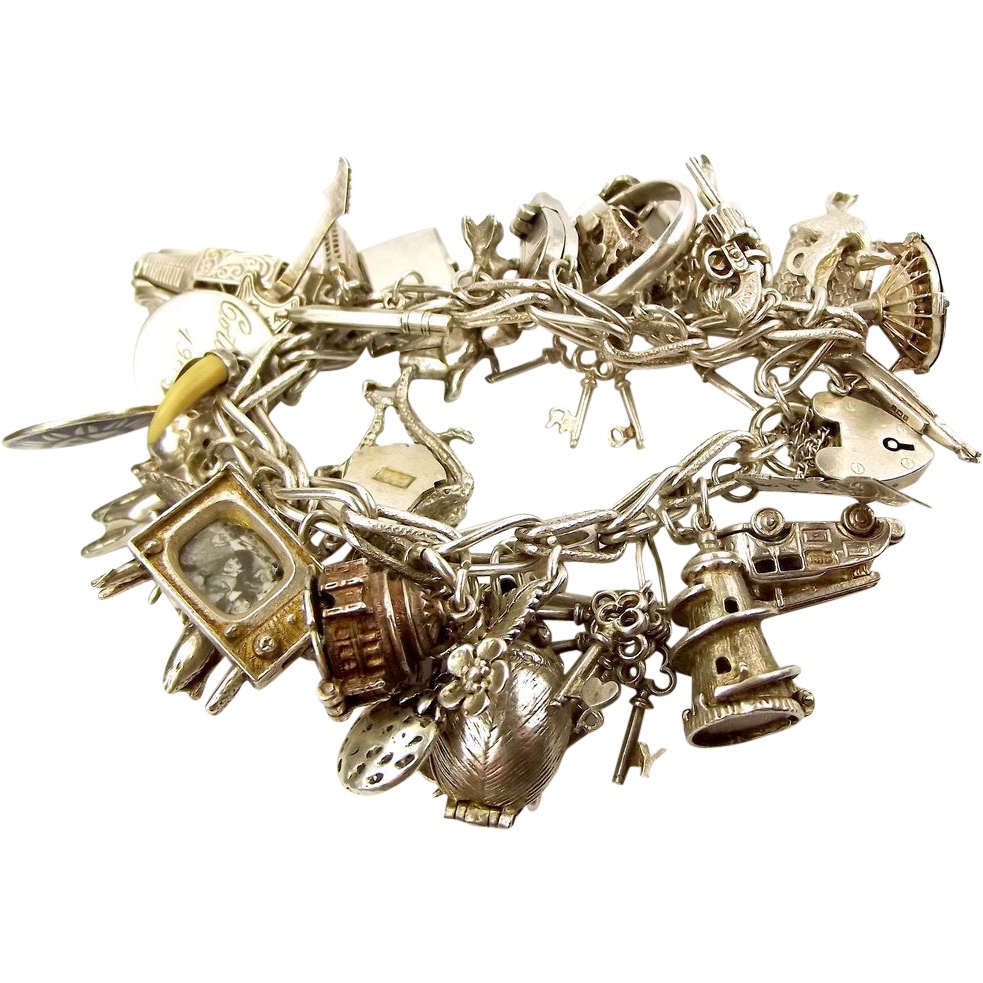 Beatles Charm Bracelet: BEATLES 1964 Silver Charm Bracelet & 37 Vintage Silver