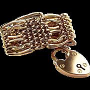 Victorian 9ct Gold Gate Bracelet Heavy 25.5g. Large Size