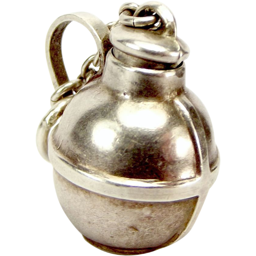 Antique EDWARDIAN Silver Charm Canteen FLASK Opens 1903