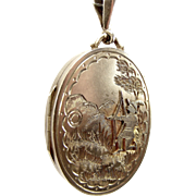 Antique Victorian 1884 Silver Locket Unusual Applied ARCHER Detail