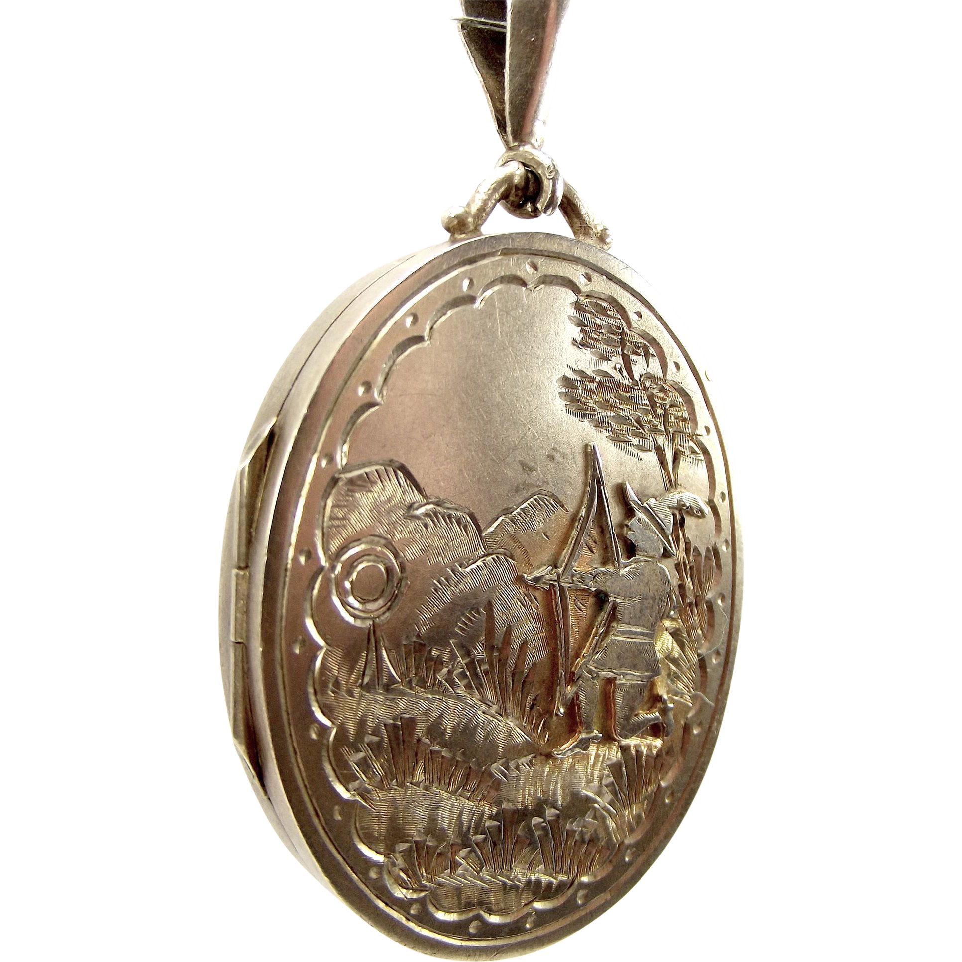 Antique Victorian 1884 Silver Locket Unusual Applied ARCHER Detail