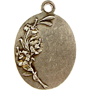 Art Nouveau French Silver Charm St AGNES Raised Detailing