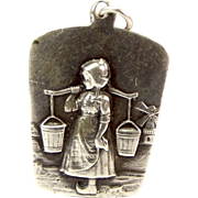 Victorian 900 Silver Charm German/Dutch Girl With Pails