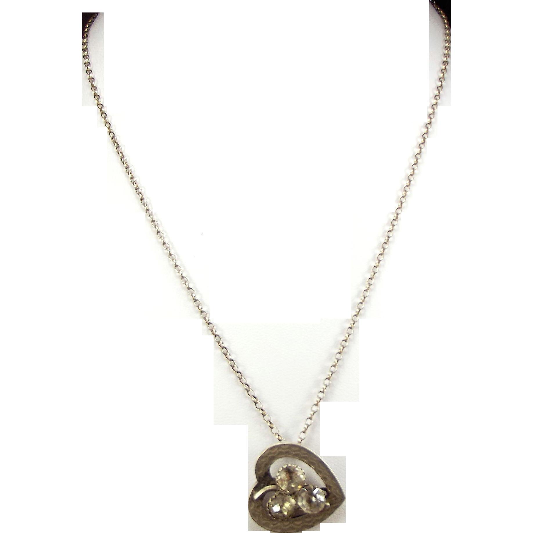 Victorian 1893 Silver & Paste SHAMROCK Heart Pendant