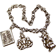 Unusual Vintage 1940's Silver Bracelet & 3 Charms