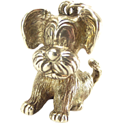 Huge Vintage Silver Charm Sitting PUPPY Dog 1975 Fob Pendant