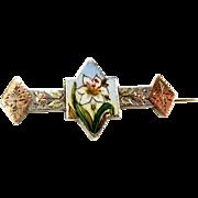 Victorian Silver, 9ct Gold & Enamel Brooch/Pin