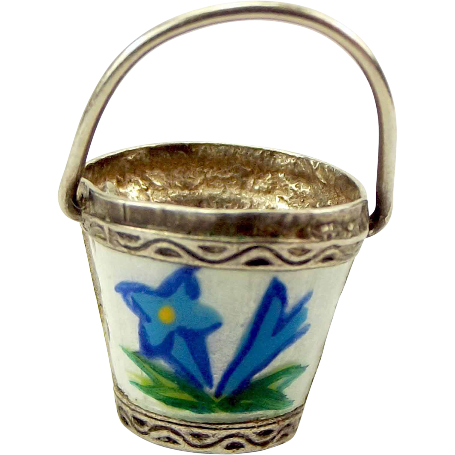 Vintage Silver & Enamel BUCKET Charm Handle Moves