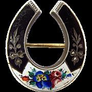 Vict/Edwardian Silver Enamel & Split Pearl HORSE SHOE Pin Brooch