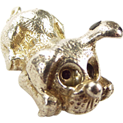 Vintage Silver Charm PUPPY DOG Rolling Glass Eyes
