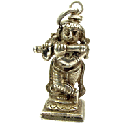 OOAK Antique Silver Charm Lord KRISHNA Playing FLUTE Hindu God