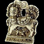 OOAK Antique Silver Charm Kamadhenu Hindu Goddess Feeding Calf