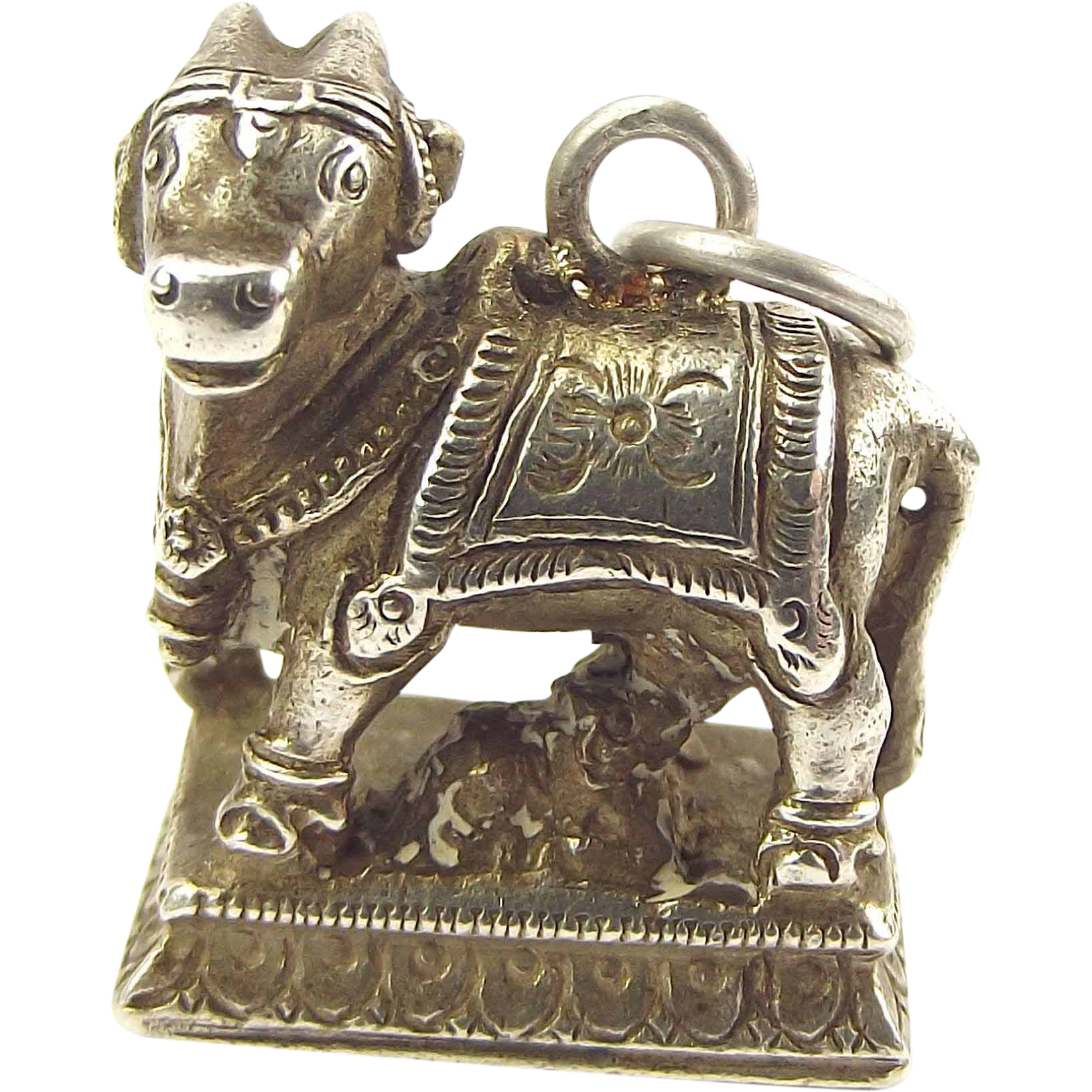 OOAK Antique Silver Charm Kamdhenu Divine Cow & Baby Calf Hindu God