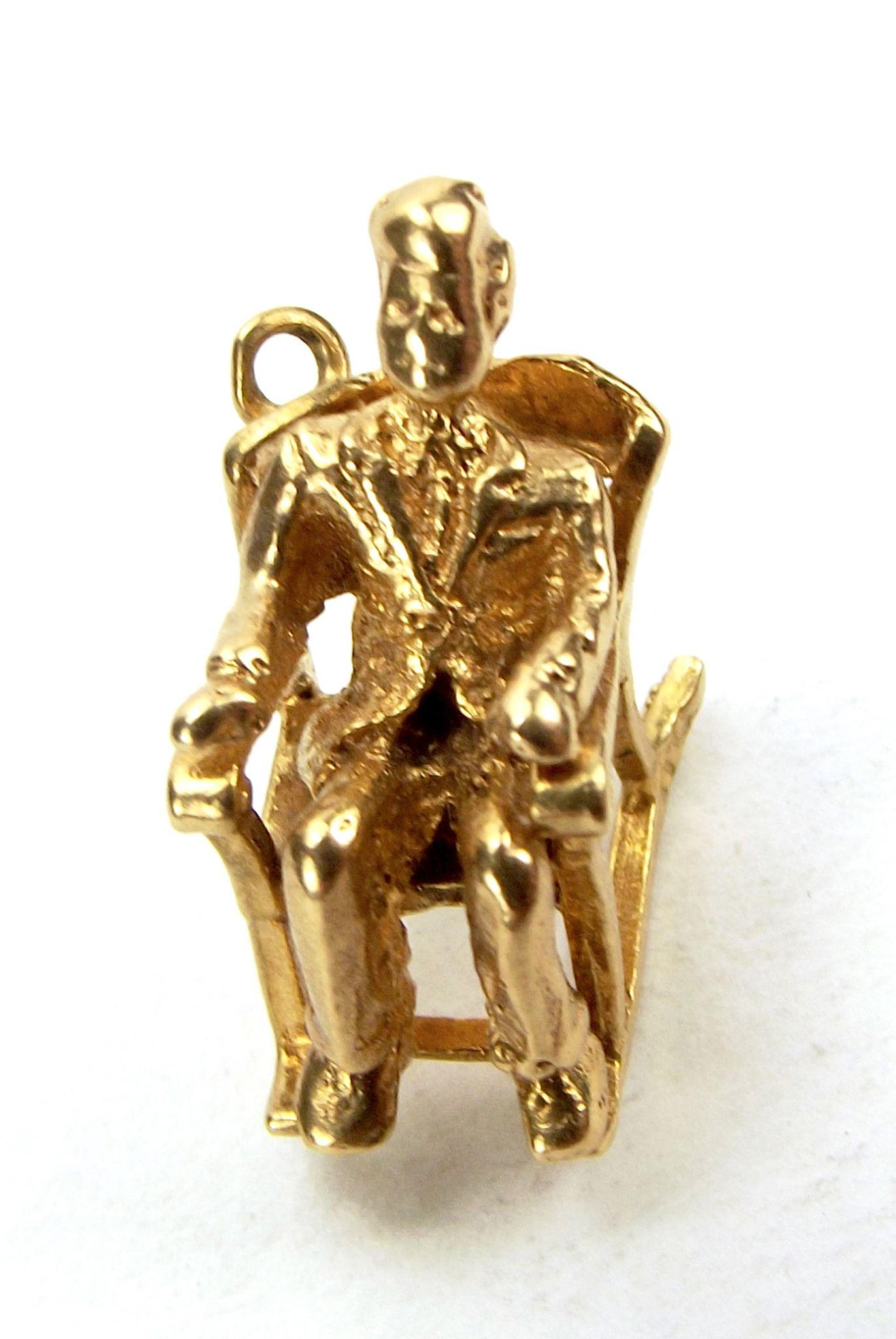 Vintage 9ct Gold Charm JF Kennedy In ROCKING CHAIR 1963 Dublin From . Full resolution  portraiture, nominally Width 1371 Height 2048 pixels, portraiture with #3C1B07.