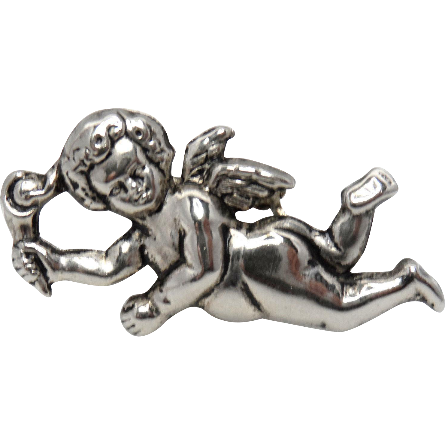 Antique Silver Cherub/Putti With TORCH Brooch/Pin