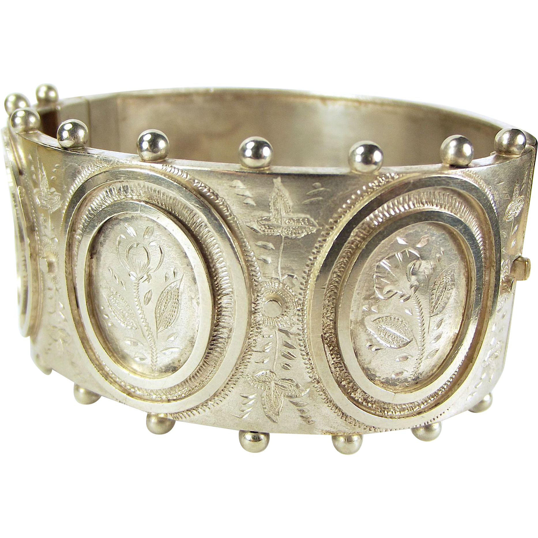 Victorian Silver Plate Bangle/Cuff Bracelet Hand Engraved Flowers