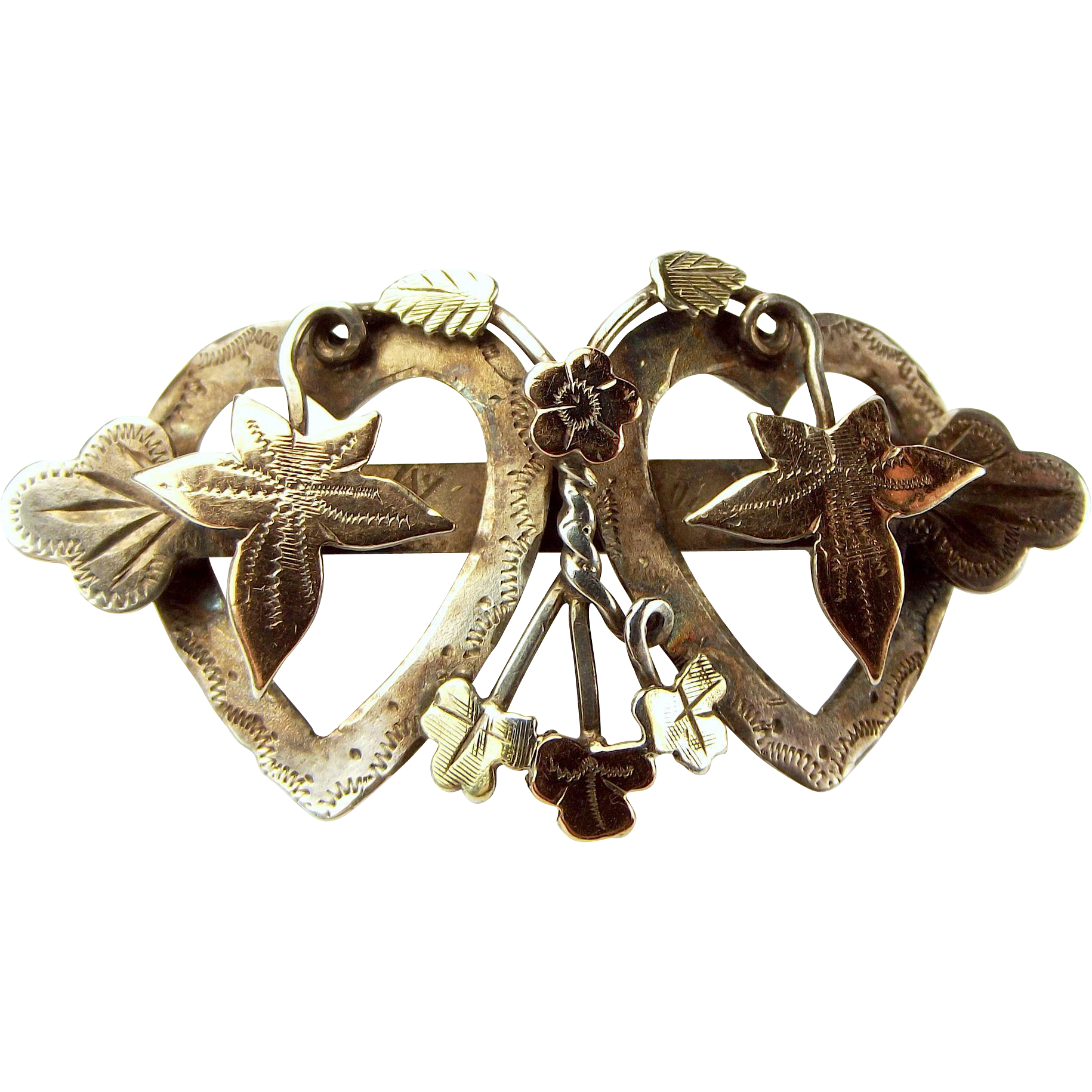 Antique Edwardian Silver & Gold SWEETHEART Brooch/Pin 1901