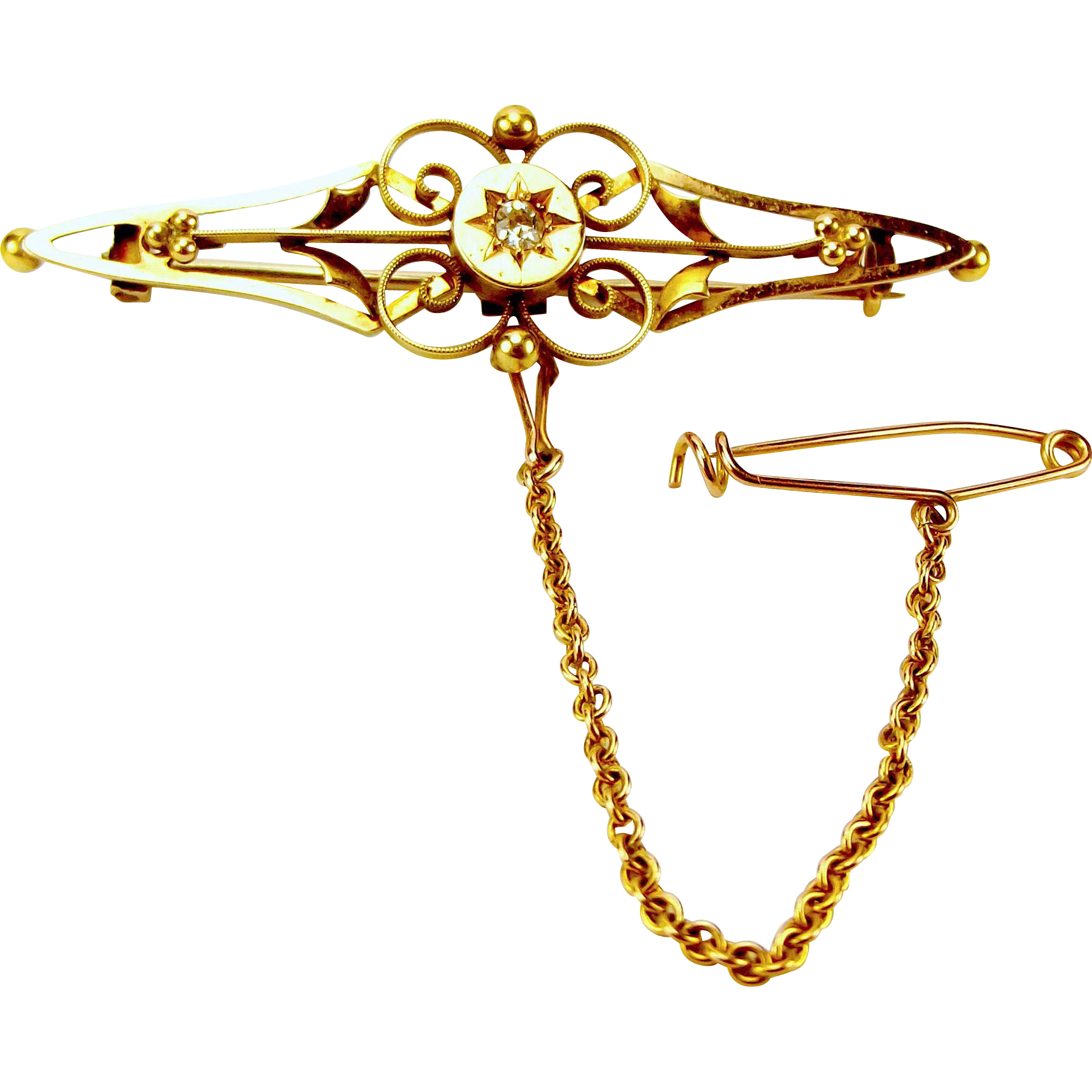 Victorian 15ct Gold & Diamond Bar Brooch Pin Perfect To Upcycle