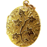 Antique Victorian 15ct Gold IVY LEAF Locket Opens