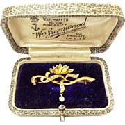 Art Nouveau 18ct Gold, Seed Pearl & Diamond Paste Brooch/Pin