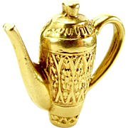 Vintage 9ct Ornate Gold COFFEE POT Charm Pendant Fob