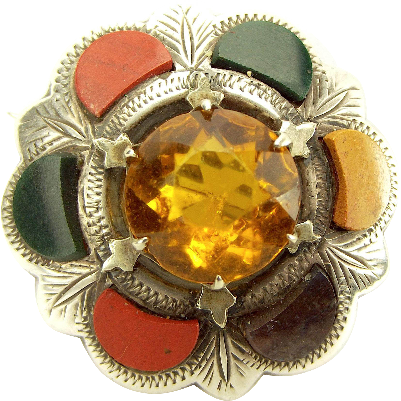 Victorian Silver Scottish AGATE Citrine/Glass Brooch Pin
