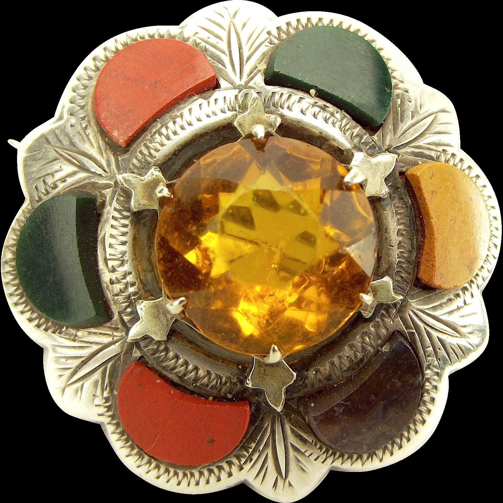 Victorian Silver Scottish AGATE Citrine/Glass Brooch Pin